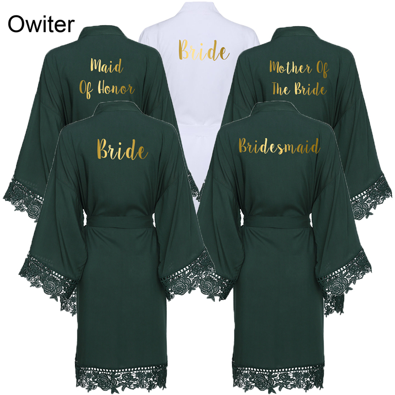 Owiter 2019 Green Solid Cotton Kimono Bride Bridesmaid Robes With Lace Trim Women Wedding Bridal Robe Bathrobe Sleepwear White