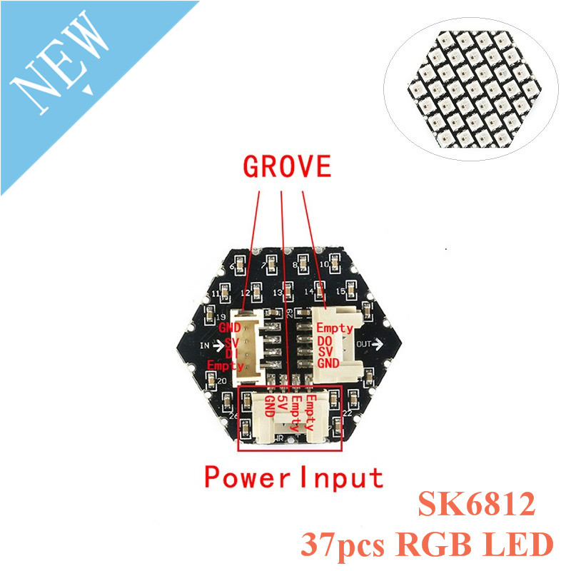 M5Stack HEX RGB LED Light Board SK6812 37pcs LED GROVE Port And Power Input Compatible Ws2812 M5Stack UI-Flow For Arduino