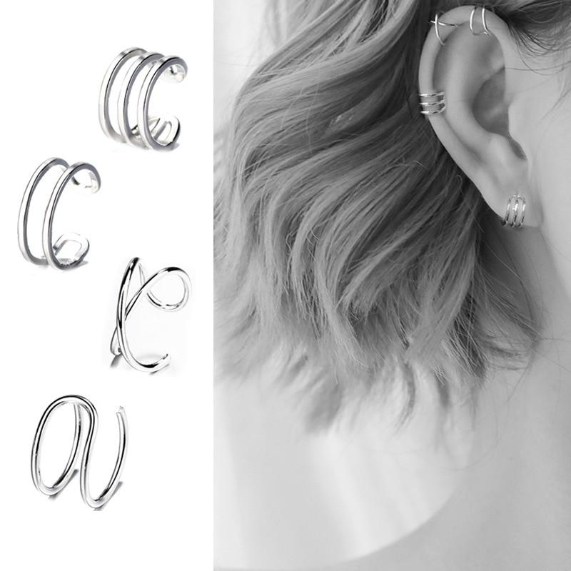 Real 925 Sterling Silver Ear Cuff Earrings Simple Non-Pierced Cartilage Earrings Ear Cuffs Clip On Earrings For Women Girls