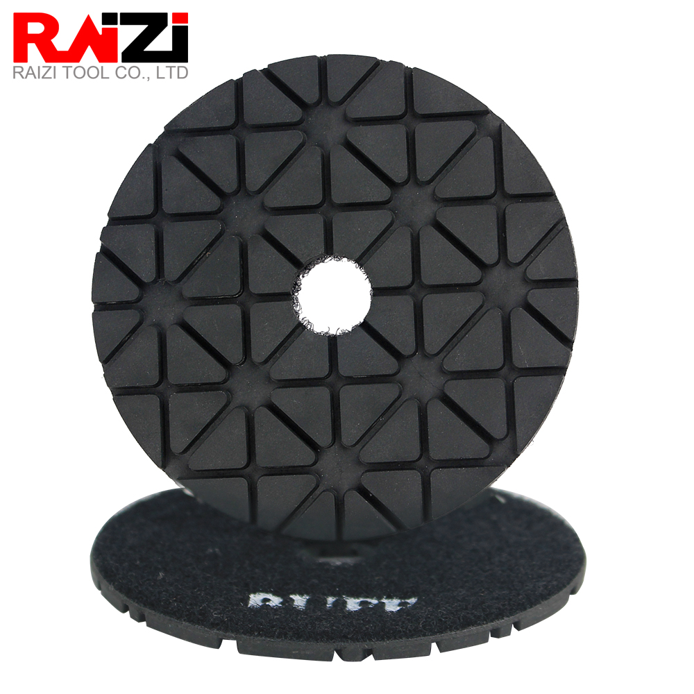 Raizi 4 Inch Diamond Polishing Buff Pad  Wet Use Black On Granite And Marble Stone 95 Degree Brightness High Gloss Sanding Disc