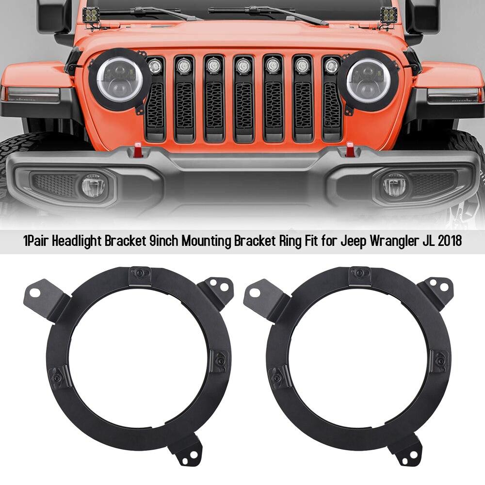 1Pair Headlight Bracket 9inch Mounting Bracket Ring Fit For Jeep Wrangler JL 2018
