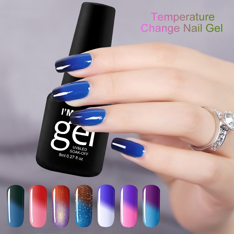 Gel Nail Polish 8ml Temperature Change Soak Off LED UV Gel Ongle Shimmer Varnish Negels Nails Art Manicure Lacquer Esmalte Para in Nail Gel from Beauty Health
