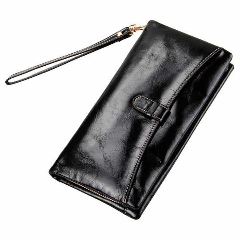 Женский бумажник с масляно-восковой пропиткой из натуральной кожи, Кожаный клатч, длинные женские кошельки, Женский кошелек бумажник Carteira Feminina