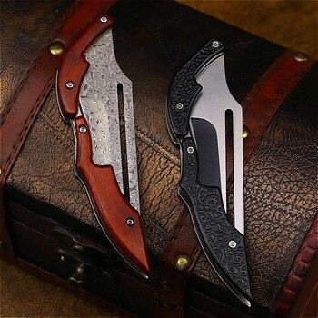 DEHONG  Damascus Mechanical folding Knife Fashion D2 steel folding knife outdoor folding knife pocket knife jungle hunting knife 4