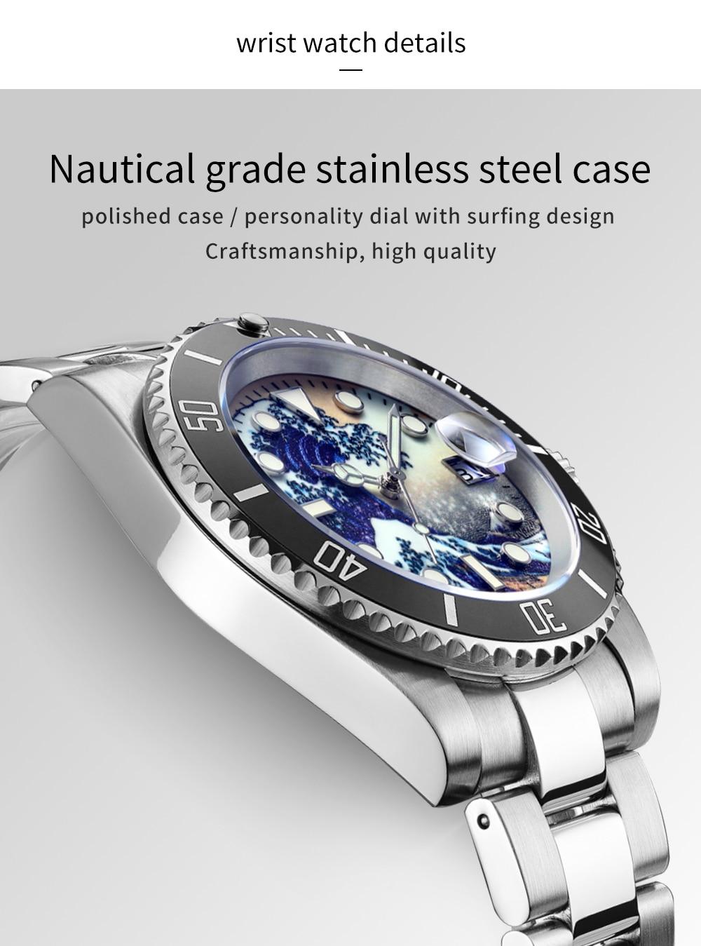 luminoso surf dial safira cerâmica de aço