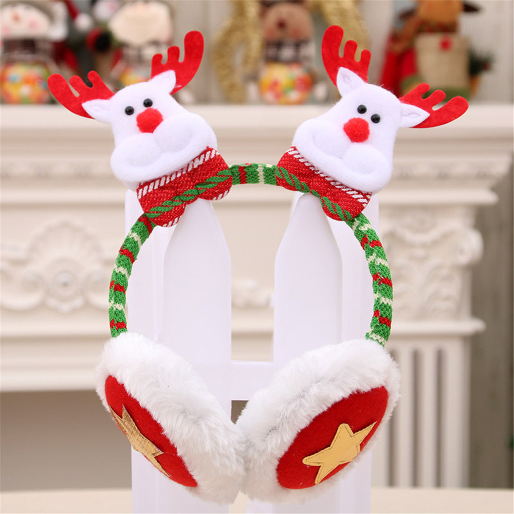 New Earmuffs  Snowman Santa Deer Winter Warm Christmas Earmuffs Faux Fur Ear Warmer Christmas Gifts For Children