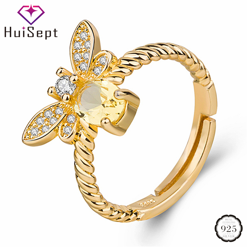 HuiSept Trendy 925 Silver Jewelry Ring for Female Citrine Gemstone Zircon Bee Shape Gold Color Rings for Wedding Party Wholesale