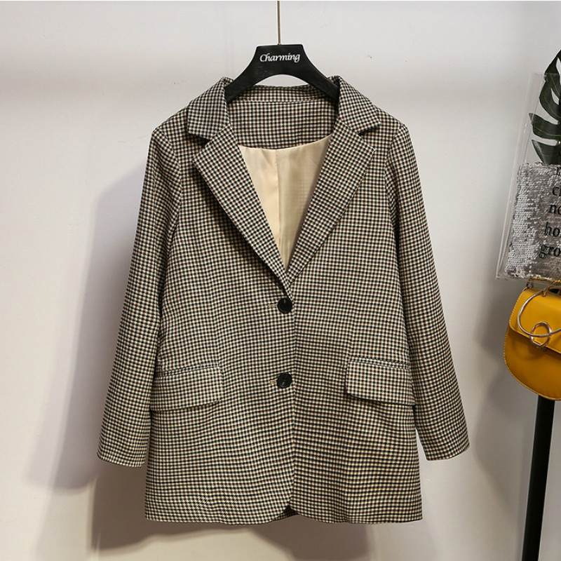 High Quality Ladies Plaid Jacket Suit Large Size XL-5XL Casual Loose Long Sleeve Ladies Blazer 2019 New Autumn Office Suit
