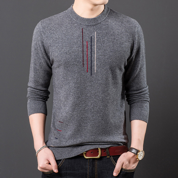 100% Wool Men Knit Tops Sweater Pullover Basic O Neck for Autumn Winter Solid Fashion Casual BO22161230