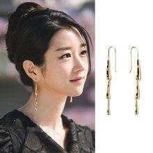 Женские длинные висячие серьги в форме капли корейские Металлические