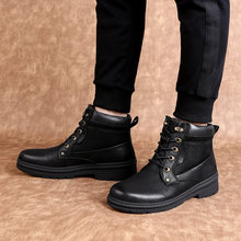 Men Shoes Winter snow Boots men genuine Leather Ankle Cowboy Waterproof Motorcycle Casual shoes Coturno Botas Hombre zapatos de(China)