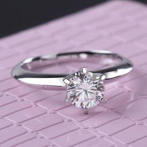 Image 1 - Starsgem Jewel Fashion 18K Vergulde 925 Zilveren 6 Klauwen 0.5/1ct F Moissanite Ring Beste Prijs Moissanite ring Voor Vrouwen