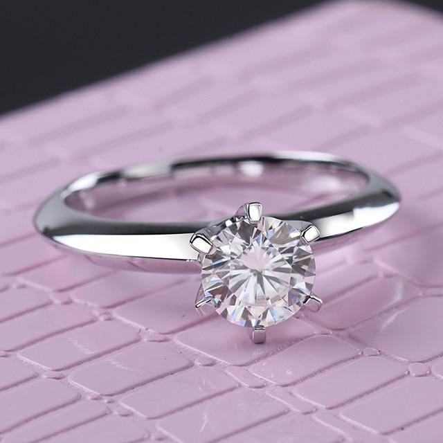 Starsgem Jewel Fashion 18K Vergulde 925 Zilveren 6 Klauwen 0.5/1ct F Moissanite Ring Beste Prijs Moissanite ring Voor Vrouwen