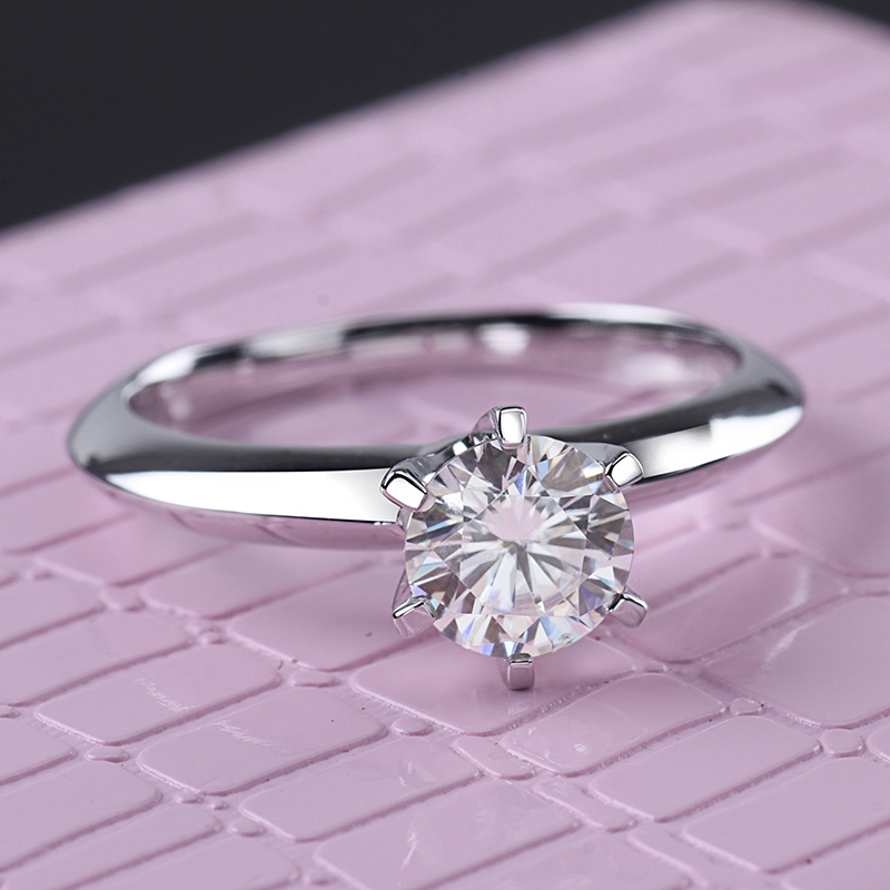 Starsgem bijou mode 18K plaqué or 925 argent 6 griffes 0.5/1ct F moissanite anneau meilleur prix moissanite anneau pour femmes