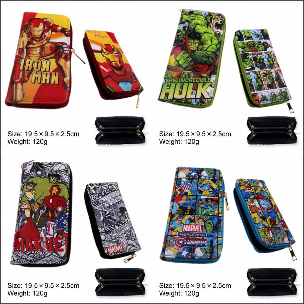 Women Fashion Handbag Comic captain marvel Captain America Hulk S.H.I.E.L.D Avengers Black Panther Wallet Men Long Zipper Wallet