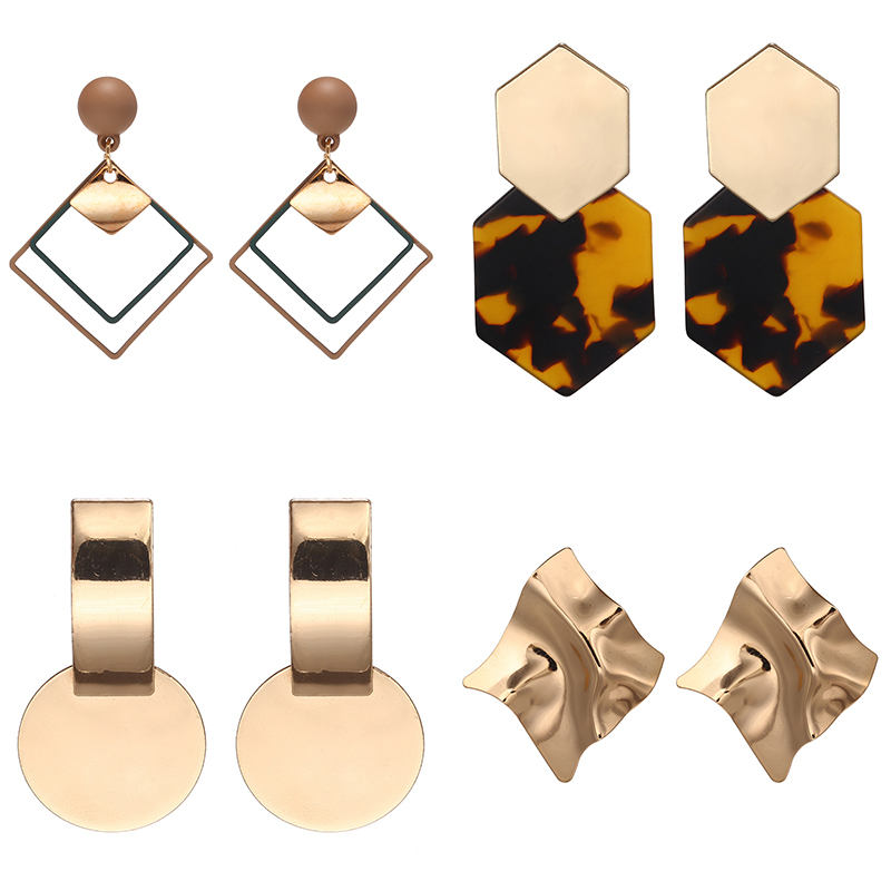 New Statement Earrings For Women Metal Leopard Acrylic Geomitric Dangle Earring Punk Modern Fashion Jewelry  Korean Earrings