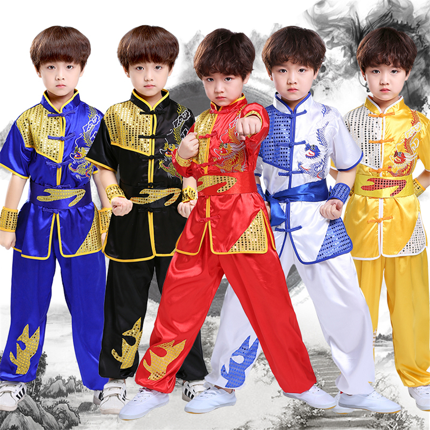 Children Chinese Traditional Style Clothing Set Sequin Dragon Embroidery Long&Short Performance Tai Chi Kung Fu Uniforms