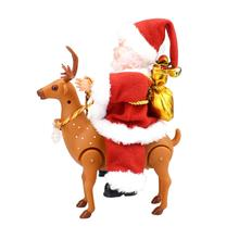 new Christmas Lovely Santa Claus Deer Non-toxic Walking Music Electronic Toy Xmas Doll Kid Gift Claus&elk Design Sound