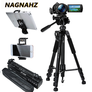 Image 1 - 55inch Phone/Camera Tripod Professional Portable Travel Aluminum Tripode with Phone Holder for iPhone iPad Mobile Dslr Movil