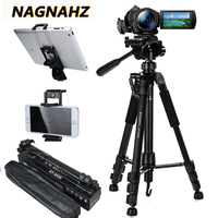 55inch Phone/Camera Tripod Professional Portable Travel Aluminum Tripode with Phone Holder for iPhone iPad Mobile Dslr Movil