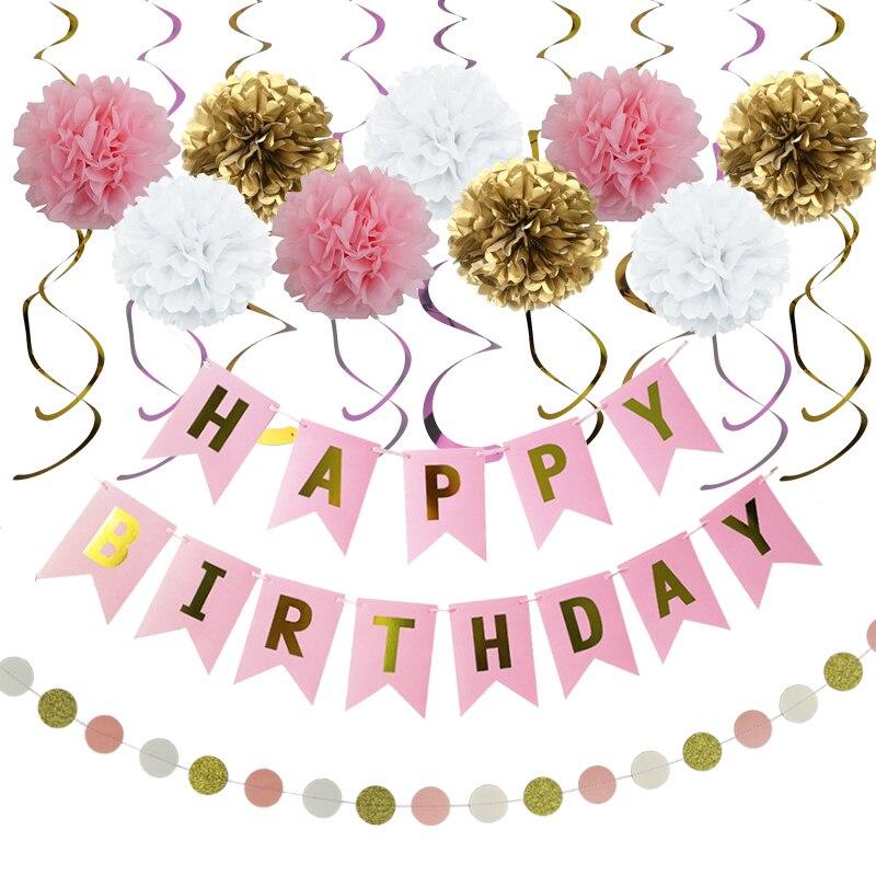 20 шт./компл., украшения для дня рождения, баннеры для дня рождения, Висячие вихревые гирлянды 4 м, 9 шт., 8 дюймов, бумажные цветы, день рождения д...