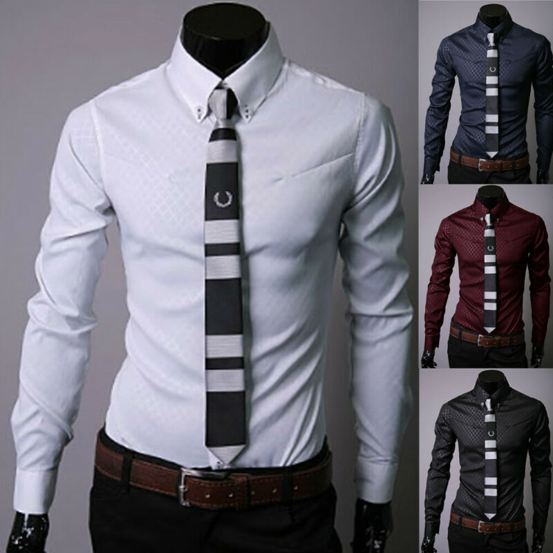 New Luxury Men's Solid Casual Formal Shirt Long Sleeve Slim Fit Business Dress Shirts Tops