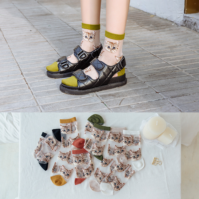 2020 New Cartoon Women Cotton Socks Spring Summer Fashion Glass Filament Cat Embroidery Female Socks Transparent Cute Girl Socks