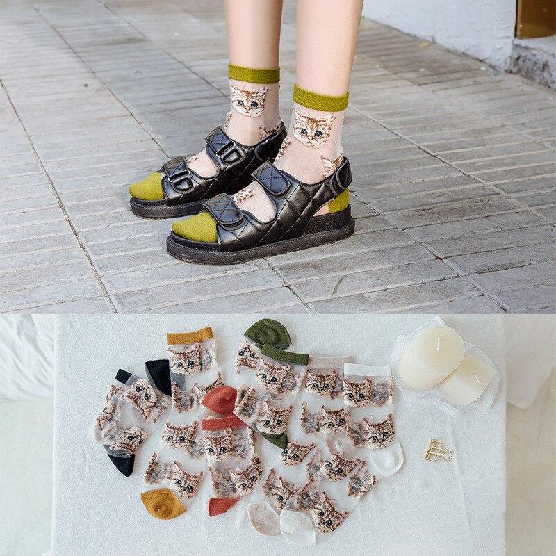 2020 New Cartoon Women Cotton Socks Spring Summer Fashion Glass Filament Cat Embroidery Female Socks Transparent Cute Girl Socks