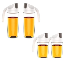 Oil-Dispenser Glass Opening Kitchen/bbq Leak-Proof And 2pcs for Olive Closing Automatic