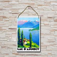 8x12 polegadas de madeira sinal lago annecy frança viajar cartaz de madeira personalizar decoração de madeira casa arte pendurada