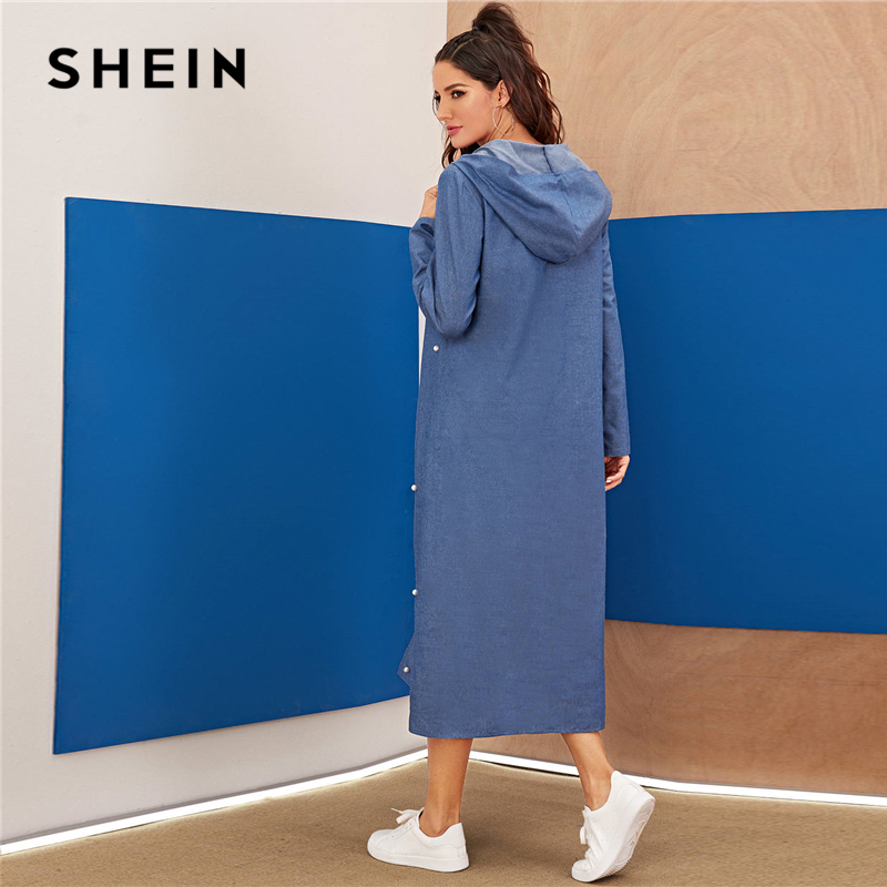 SHEIN Blue Abaya Pearls Beaded Split Hem Denim Hoodie Dress Women Autumn Long Sleeve Solid Loose Casual Long Dresses SHEIN Women Women's Clothings Women's Shein Collection cb5feb1b7314637725a2e7: Blue