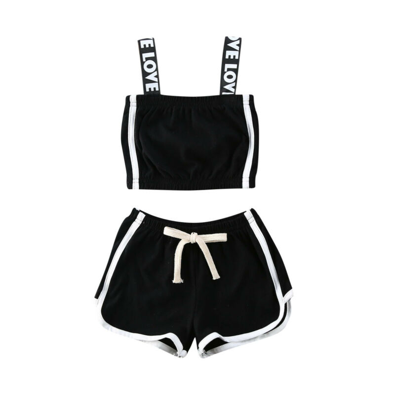Toddler Infant Baby Girls Clothes Set Tracksuit 2020 Summer Sport Outfit Kids Sunsuit Solid Color Letter Tops Shorts Clothing