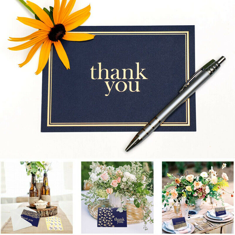 2019 Thank You Notes Navy Blue And Gold - Blank Note Cards With Envelopes 9 Cards