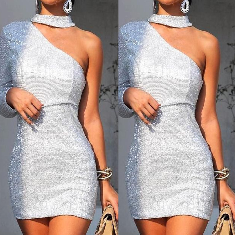 BacklakeGirls 2019 Fashion One Shoulder Long Sleeve Silver Sequined Mini Cocktail Dress Short Formal Dresses Coctel