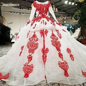 Image 1 - LS67890 party jurken geborduurd met stenen rode applique kralen lange mouwen lange trein prom avondjurk china groothandel 2018