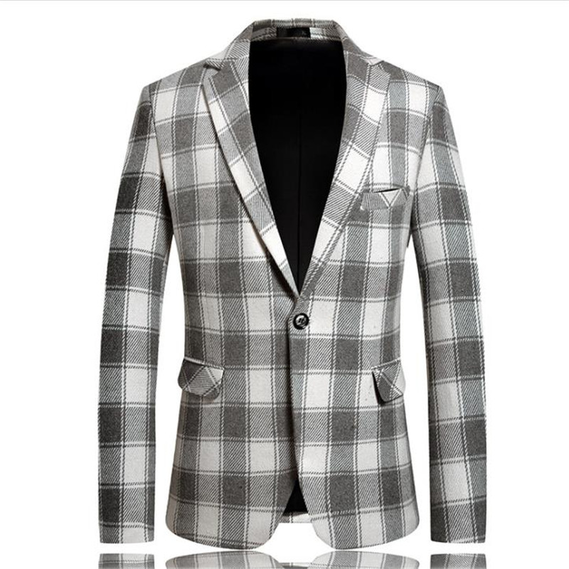 Mens Designer Plaid Printed Blazers Casual Mens Lapel Neck Outerwear Winter Male Coat with Single Breasted