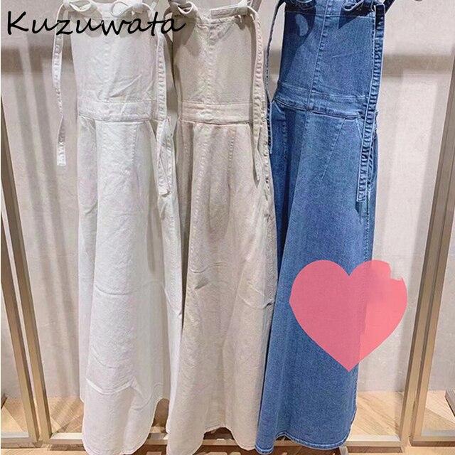 Kuzuwata High Waist Hip A Line Camis Dress Women Sexy Sleeveless Shoulder Strapless Denim Vestidos Summer 2021 New Slim Robe 4