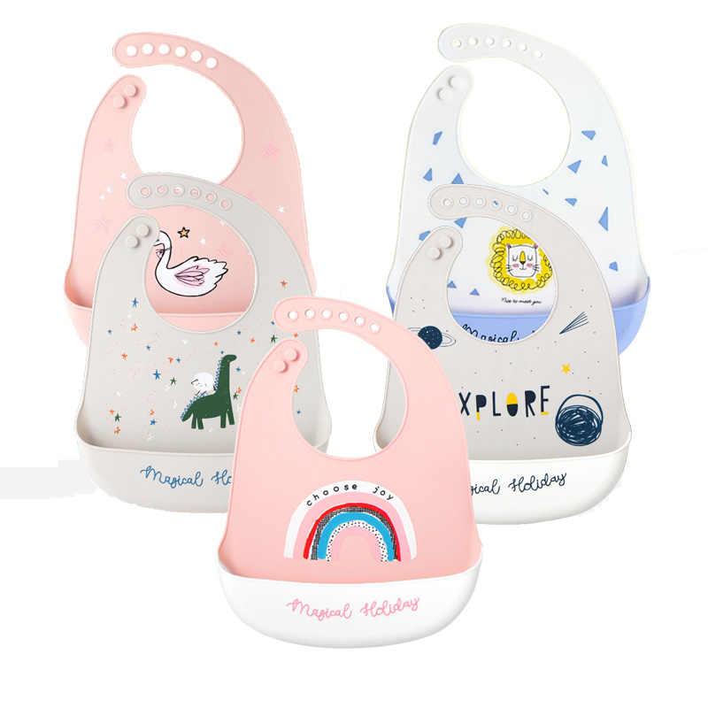 아기 Bibs 방수 실리콘 먹이 조절 동물 패턴 아기 침 타월 앞치마 아기 Bibs Burp Cloths Bandana Dropship