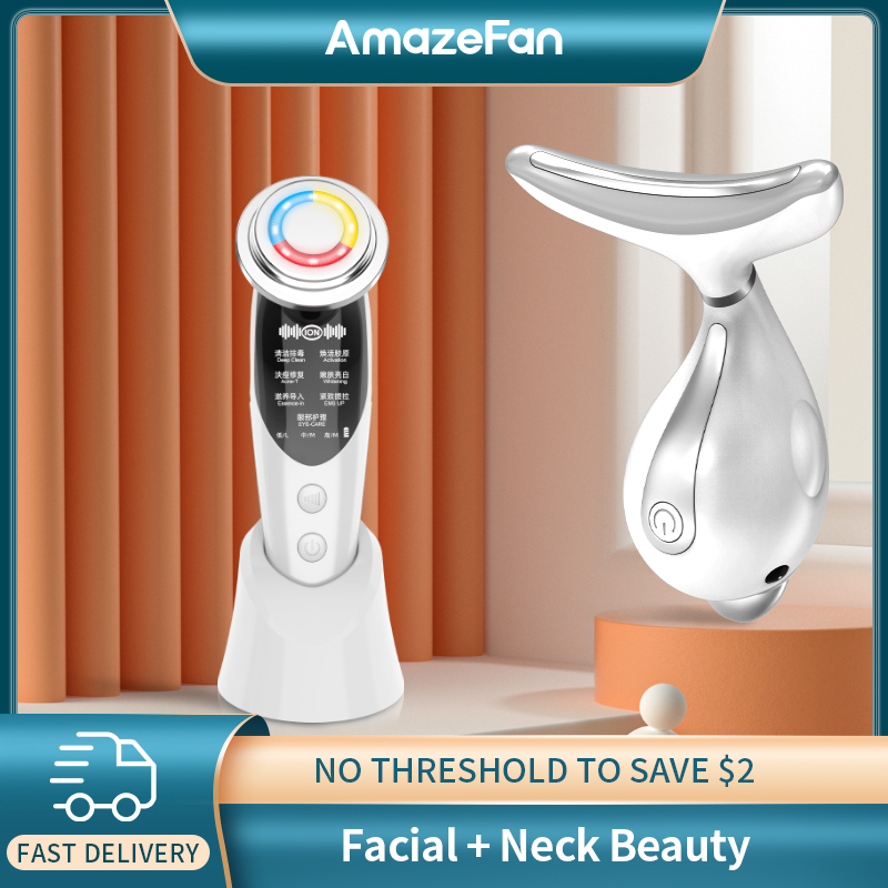 AmazeFan 7in1RF&EMS Lifting Beauty 3+ Colors LED Photon Face Skin Neck Care Massager Therapy Heating Wrinkle Removal Double Chin