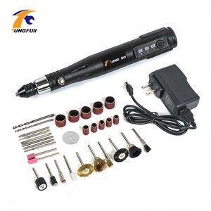 Image 1 - Elektrikli güç araçları ile Mini matkap 0.3 3.2mm taşlama aksesuarları seti çok fonksiyonlu Mini gravür kalem Dremel araçları için
