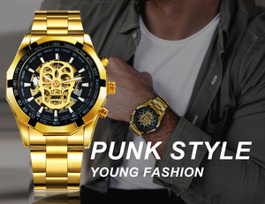 Image 5 - WINNER Official Automatic GOLD Watch Men Steel Strap Skeleton Mechanical Skull Watches Top Brand Luxury Dropshipping Wholesale