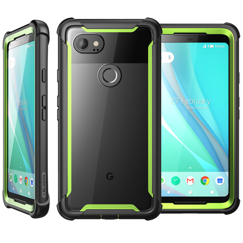 For For Google Pixel 2 XL Case Original Ares Series Full-Body Rugged Clear Bumper Case With Built-In Screen Protector
