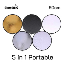 """24"""" 60cm 5 in 1 Portable Collapsible Light Round Photography Reflector for Studio Multi Photo Disc Outdoor studio reflector"""