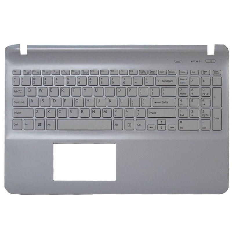 US Laptop Keyboard For Sony SVF15 SVF152 SVF153 SVF1541 SVF15E Without Touchpad Palmrest Cover White