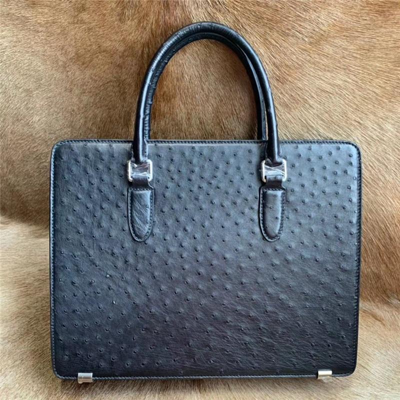 Authentic Ostrich Skin Passcode Closure Businessmen Briefcase Laptop Purse Shoulder Bag Genuine Leather Male Working Handbag