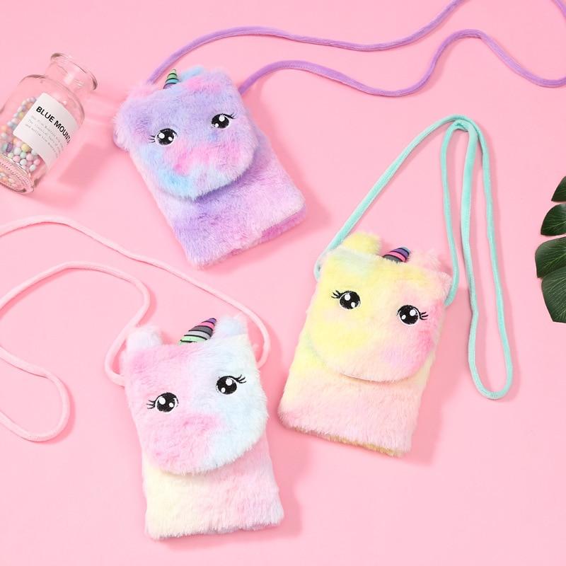 Winter Kids Girls Colorful Mini Messenger Bag Kids Shoulder Bag Purse Phone-Pouch Crossbody Bag Soft Plush Rainbow Fur Unicorn