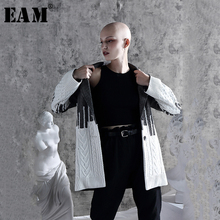 [EAM] Loose Fit Contrast Color Loose Fit Sweater Jacket New Lapel Long Sleeve Women Coat Fashion Tide Spring Autumn 2020 1A308