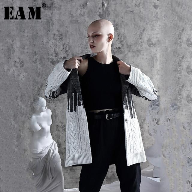 [EAM] Loose Fit di Colore di Contrasto Allentato Fit Giacca Maglione Nuovo Risvolto Lungo Cappotto Delle Donne Del Manicotto di Modo di Marea di Primavera autunno 2020 1A308