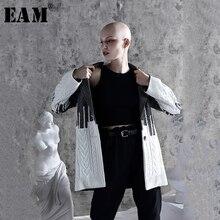 Женский свободный свитер EAM, куртка контрастных цветов с отложным воротником и длинным рукавом, весна осень 2020