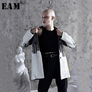 Image 1 - [Eam] solto ajuste contraste cor solto ajuste camisola jaqueta nova lapela manga longa casaco feminino moda maré primavera outono 2020 1a308